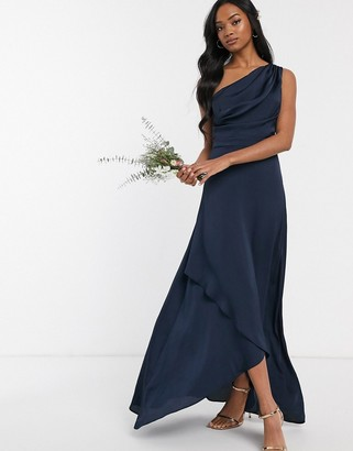 TFNC Bridesmaid one shoulder maxi dress in navy