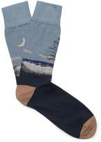 Corgi Intarsia Cotton-blend Socks - Navy