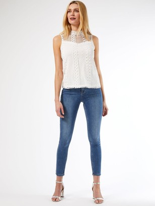Dorothy Perkins Geo Lace Shell Top - White