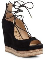 Sam Edelman Harriet Peep-Toe Lace-Up Wedge Sandals