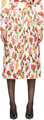 Commission White Pleated Floral Fanny Skirt
