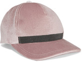 Brunello Cucinelli Embellished Velvet Baseball Cap - Pink