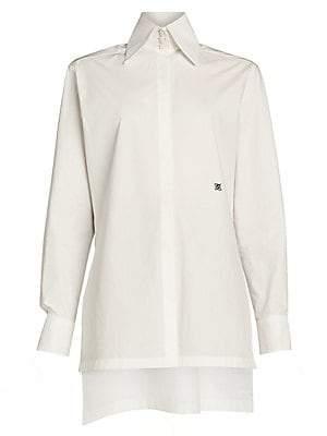 Fendi Women's Embroidered Monogram Cotton Taffeta Shirt