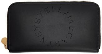 Stella McCartney Black Logo Zip Wallet