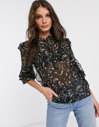Vila prairie blouse with ruffle neck in black floral