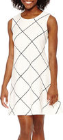 Tiana B Sleeveless Grid Print Fit-and-Flare Dress - Petite
