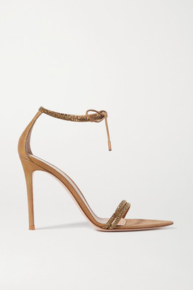 Gianvito Rossi Camnero 105 Crystal-embellished Iridescent Suede Sandals - Gold