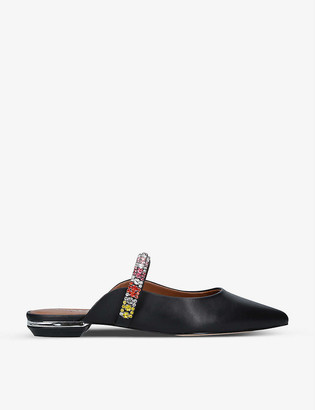 Kurt Geiger Princely Rainbow embellished-strap leather mules