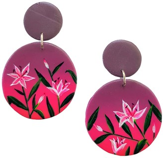 Emily Laura Designs Dark Sunset Lily Clip On Drop Earrings