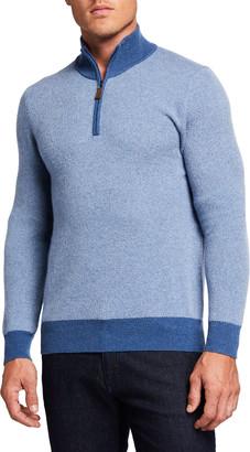 Neiman Marcus Men's Cashmere Birdseye Quarter-Zip Sweater