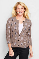 Lands' End Women's Petite Cotton Cashmere Cardigan Sweater-Walnut Heather Jacquard
