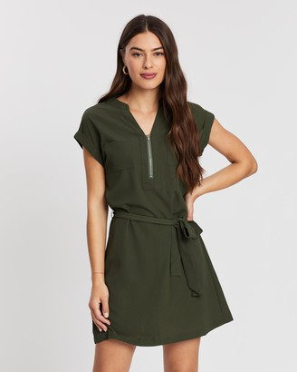 Atmos & Here Zip Belted Crepe Dress