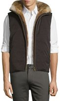 Billy Reid Reversible Down Rabbit-Lined Bomber Vest, Black