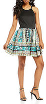 Teeze Me High Neck Printed Skirt Fit-and-Flare Dress