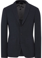 Giorgio Armani Blue Ginza Slim-Fit Textured-Knit Blazer