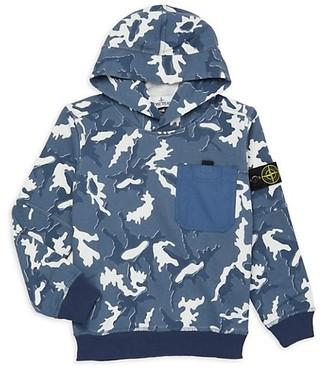 Stone Island Little Boy's & Boy's Camo Print Fleece Hooded Sweatshirt