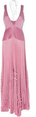 Alexis Bellona Pleated Paneled Georgette Gown