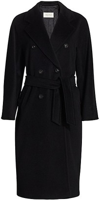 Max Mara Madame Wool Cashmere Belted Wrap Coat