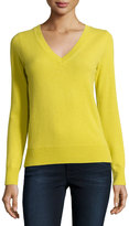 Neiman Marcus Long-Sleeve V-Neck Cashmere Top, Plus Size