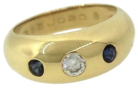 Cartier 14K Yellow Gold 0.25ct Diamond & Blue Sapphire Ring Sz 5
