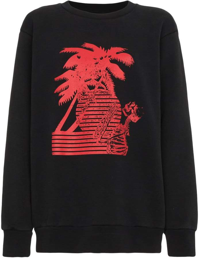 Palm Angels Long Sleeve Palm Motif Sweatshirt