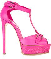 Casadei chain-effect platform t-strap sandals - women - Leather - 37