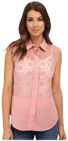 Anne Klein Floral Lace Combo Shell Shirt