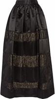 Alice + Olivia Prima lace-trimmed satin maxi skirt