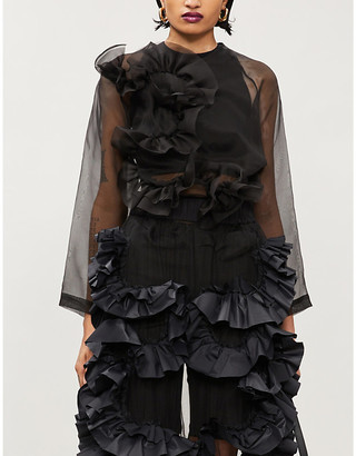 Roberts Wood Ruched silk-tulle top