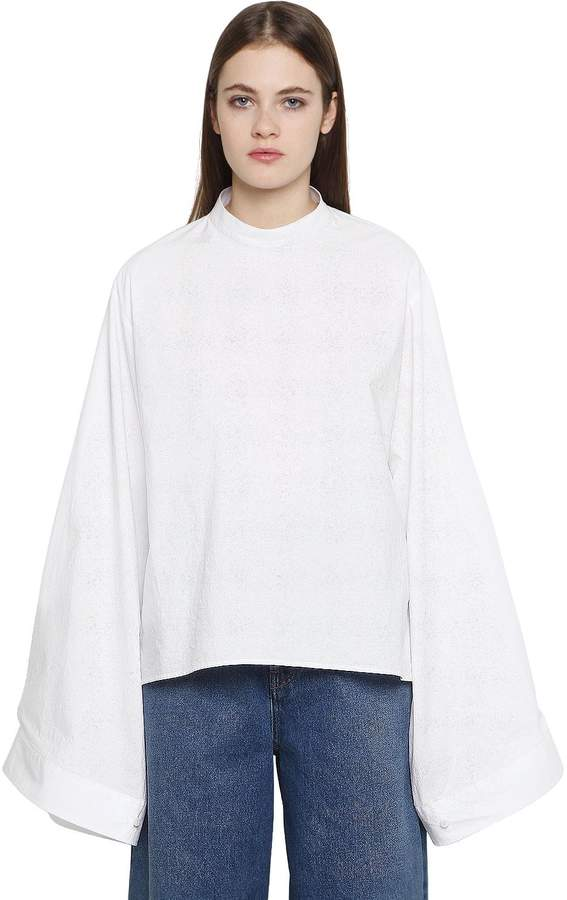 MM6 MAISON MARGIELA Parachute Wide Sleeve Cotton Poplin Top