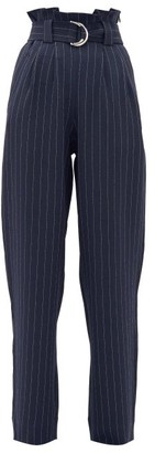 Ganni Paperbag-waist Pinstriped-crepe Trousers - Navy Stripe
