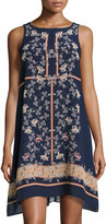 Max Studio Floral-Print Sleeveless Chiffon Dress, Navy/Mandarin