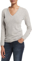 Brunello Cucinelli V-Neck Cashmere Sweater W/Elbow Patches, Light Gray