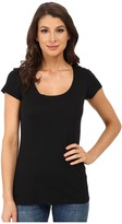 Allen Allen Basic Cap Sleeve Scoop Neck Tee Women's T Shirt