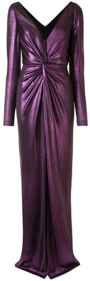 Marchesa Notte Long Sleeve Metallic Gown
