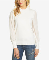 CeCe Dot-Sleeve Ruffled Sweater