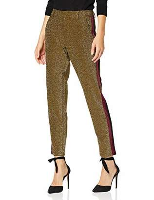 Scotch & Soda Maison Women's Tapered Lurex Pants with Velvet Side Panel Trouser,8 (Size: X-)
