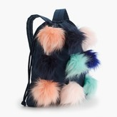 J.Crew Girls' drawstring backpack with furry pom-poms