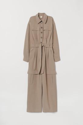 H&M Linen-blend Jumpsuit - Beige