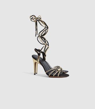 Reiss Cassidy - Strappy High Heeled Sandals in Gold