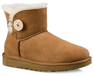 UGG Mini Bailey Button Sheepskin-Lined Suede Ankle Boots