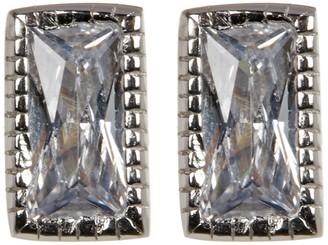ADORNIA Sterling Silver Swarovski Crystal Rectangle Cut Studs