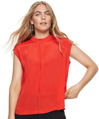 Nine West Women's Silk Mock-Neck Cap-Sleeve Blouse