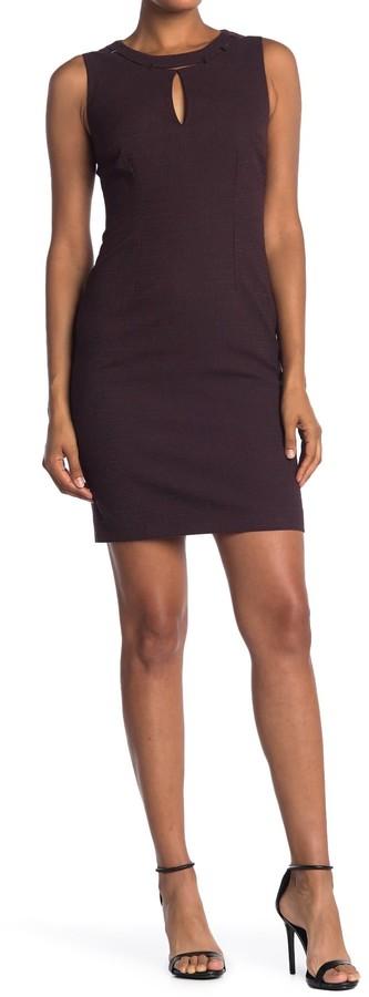 T Tahari Peep Neck Keyhole Sleeveless Sheath Dress