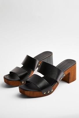 Topshop VIDA Black Leather Clogs
