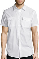 Jf J.Ferrar JF Short-Sleeve Triple Needle Woven Button-Front Shirt