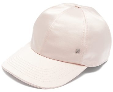 Maison Michel Tiger Silk Blend Satin Baseball Cap - Womens - Pink