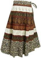 Panini Impex Block Print Cotton Multicolor Wrap Skirt for Girls India Clothes