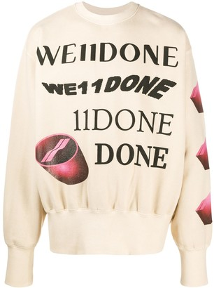 we11done Crew Neck Graphic Print Jumper