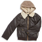 London Fog Boys 8-20 Sherpa Trimmed Leatherette Coat